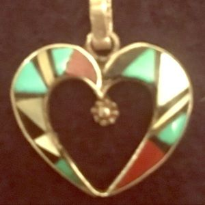 Jewelry - Sterling Turquoise Coral and onyx heart pendant